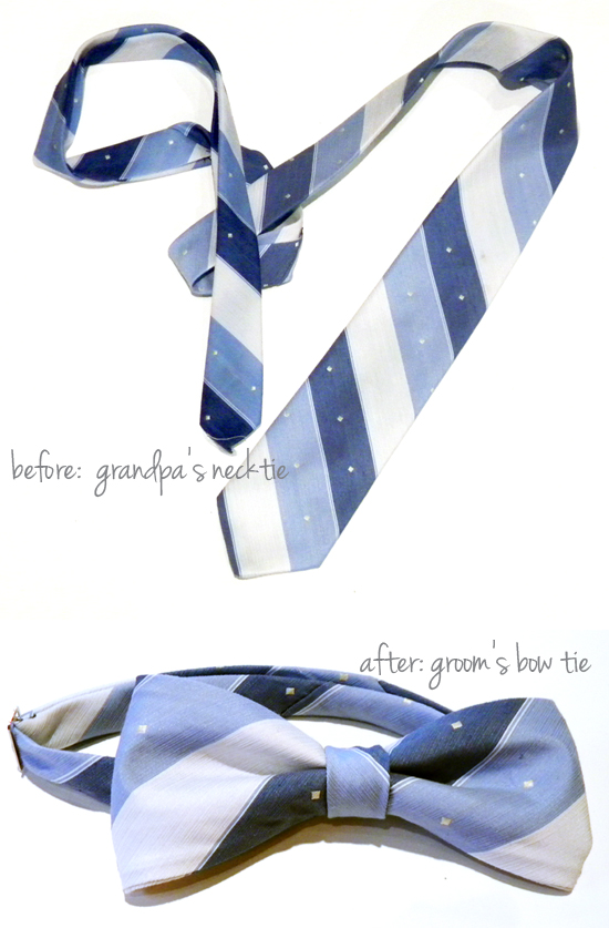 Turn a family necktie into a bow tie for your wedding.