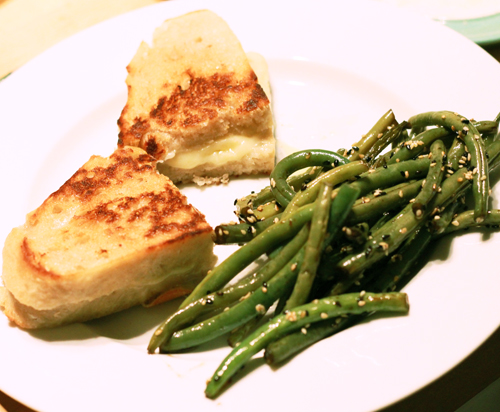 Grilled Cheese and Wok Seared Green Beans