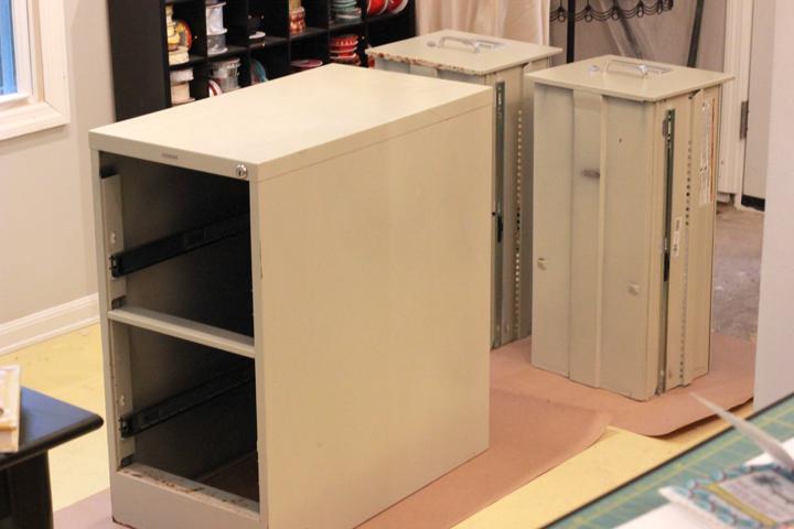 DIY woodgrain filing cabinet