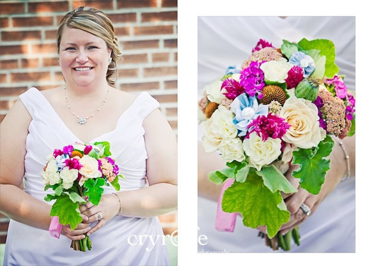 Necktie Flowers added to bouquet// Photos by Cryolfe Photography// Fabric Flowers by French Knot Studios
