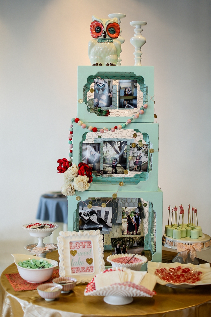 Candy Buffet and Engagement Picture display// Styling by French Knot Studios// Photos by Izzy Hudgins Photography