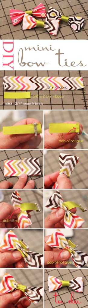 DIY Mini Bow Tie Pins.  Perfect for accessories, party favors and presents.